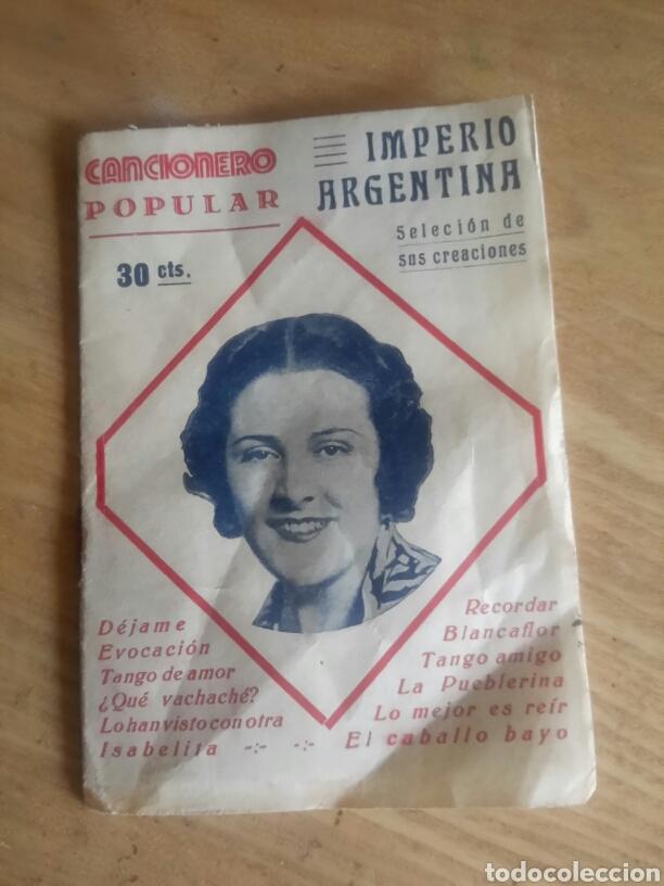 CANCIONERO POPULAR, IMPERIO ARGENTINA (Música - Catálogos de Música, Libros y Cancioneros)