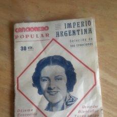 Catálogos de Música: CANCIONERO POPULAR, IMPERIO ARGENTINA . Lote 96008672