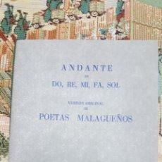 Catálogos de Música: ANDANTE EN DO, RE, MI, FA, SOL . VERSION ORIGINAL DE POETAS MALAGUEÑOS . Lote 98241166