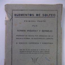 Catálogos de Música: ELEMENTOS DE SOLFEO. PRIMERA PARTE. FERMIN IRIGARAY Y BERMEJO IMPRENTA NEGRILLOS LOGROÑO 1951 TDKP12. Lote 98639855