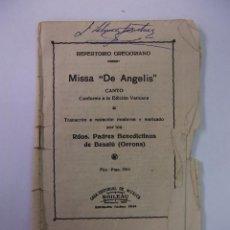Catálogos de Música: REPERTORIO GREGORIANO MISSA DE ANGELIS. MISA. PADRES BENEDICTINOS DE BESALU GERONA. TDKP12. Lote 98642907