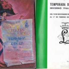 Catálogos de Música - GRAN TEATRO DEL LICEO - PROGRAMA TEMPORADA OPERA 1966-67 - 153154772