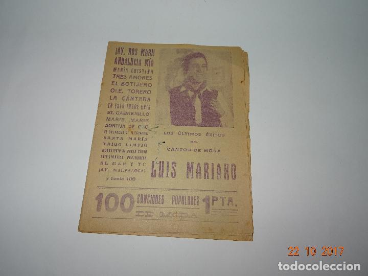 ANTIGUO CANCIONERO DE LUIS MARIANO - LOS ULTIMOS ÉXITOS DEL CANTOR DE MODA (Música - Catálogos de Música, Libros y Cancioneros)