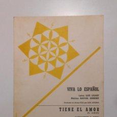 Catálogos de Música: LETRA DE CANCION. VIVA LO ESPAÑOL. LUIS LISART. RAFAEL JIMENEZ. TIENE EL AMOR. A. F. ROTH. TDKP2. Lote 101921355