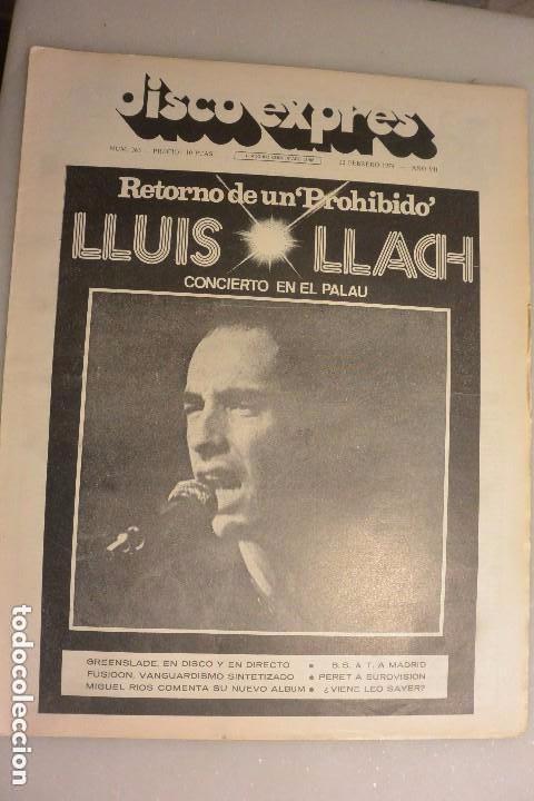 REVISTA DISCO EXPRESS Nº 263. 23 FEBRERO 1974. LLUIS LLACH.CONCIERTO EN EL PALAU (Música - Catálogos de Música, Libros y Cancioneros)