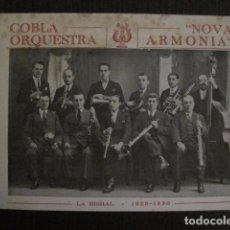 Catálogos de Música: COBLA ORQUESTA NOVA ARMONIA - LA BISBAL 1930 - PUBLICIDAD - VER FOTOS- (V- 12.866). Lote 105196751