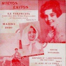 Catálogos de Música: CATÁLOGO NUEVOS ÉXITOS LA VOZ DE SU AMO MARZO 1930. Lote 106000067