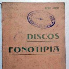 Catálogos de Música: CATÁLOGO DISCOS FONOTIPIA Y ODEÓN - JUNIO 1913. Lote 109061483