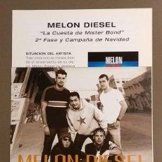 Catálogos de Música: CARTEL PUBLICITARIO PROMOCIONAL & CUARTILLA. MELON DIESEL. LA CUESTA DE MISTER BOND.EPIC.30 CM.NUEVO. Lote 109207547
