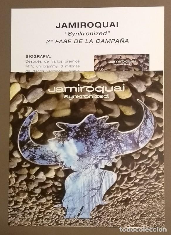 CARTEL PUBLICITARIO PROMOCIONAL & CUARTILLA. JAMIROQUAI. SYNKRONIZED. EPIC. 30 CM. NUEVO (Música - Catálogos de Música, Libros y Cancioneros)