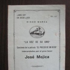 Catálogos de Música: DISCOS LA VOZ DE SU AMO - JOSE MOJICA -VER FOTOS-(V-13.759). Lote 114807031