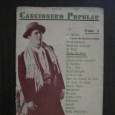 Catálogos de Música: CARLOS GARDEL - CANCIONERO POPULAR -VER FOTOS-(V-13.868). Lote 115715323