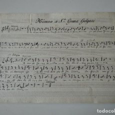 Catálogos de Música: PARTITURA A MANO ANTIGUA, HIMNO A SANTA GEMA GALGANI. Lote 117623167