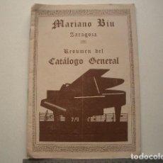 Catálogos de Música - Mariano Bíu Zaragoza Resumen del cátlogo general. 24pp. - 118043203