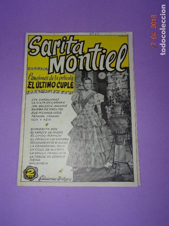 ANTIGUO CANCIONERO DE LA PELICULA *EL ÚLTIMO CUPLÉ* DE SARITA MONTIEL Y EDICIONES BISTAGE AÑO 1957 (Música - Catálogos de Música, Libros y Cancioneros)