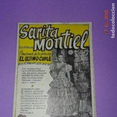 Catálogos de Música: ANTIGUO CANCIONERO DE LA PELICULA *EL ÚLTIMO CUPLÉ* DE SARITA MONTIEL Y EDICIONES BISTAGE AÑO 1957. Lote 118501271