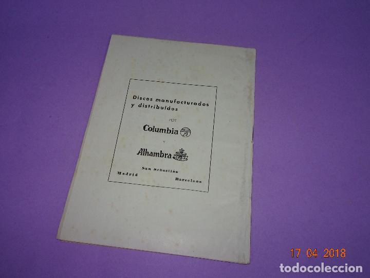 Catálogos de Música: Antiguo Cancionero de la Pelicula *EL ÚLTIMO CUPLÉ* de SARITA MONTIEL y Ediciones BISTAGE Año 1957 - Foto 2 - 118501271