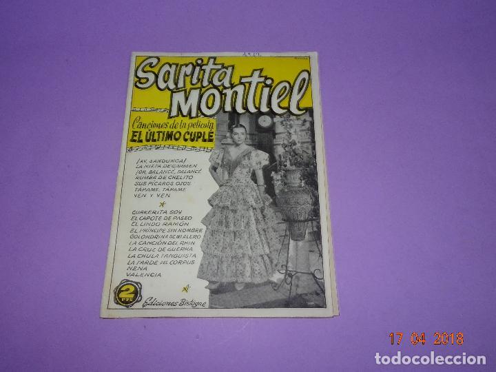 Catálogos de Música: Antiguo Cancionero de la Pelicula *EL ÚLTIMO CUPLÉ* de SARITA MONTIEL y Ediciones BISTAGE Año 1957 - Foto 4 - 118501271
