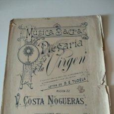 Catálogos de Música: MUSICA SACRA PREGARIA A LA VIRGEN (V. COSTA NOGUERAS) LETRA TUDELA . LLOBET Y MAS BCN. Lote 119075907