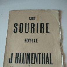 Catálogos de Música: UN SOURIRE IDYLLE (J. BLUMENTHAL) 9538 OP.44 FR 2.75 MILAN F.LUCCA. OPERA. Lote 119075959