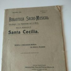 Catálogos de Música: BIBLIOTECA SACRO MUSICAL NOVIEMBRE 1912. REVISTA MENSUAL MUSICA RELIGIOSA, SANTA CECILIA. Lote 119076035