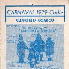 Catálogos de Música: LIBRETO DE CARNAVAL. FIESTAS TIPICAS GADITANAS. CARNAVAL 1979. CADIZ. CUARTETO COMICO.. Lote 121707127