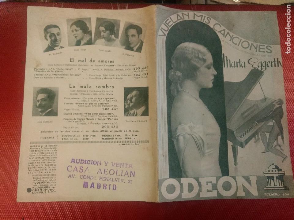 CATALOGO MUSICA MARTA EGGERTH VUELAN MIS CANCIONES DISCOS ODEON FEBRERO 1934 (Música - Catálogos de Música, Libros y Cancioneros)