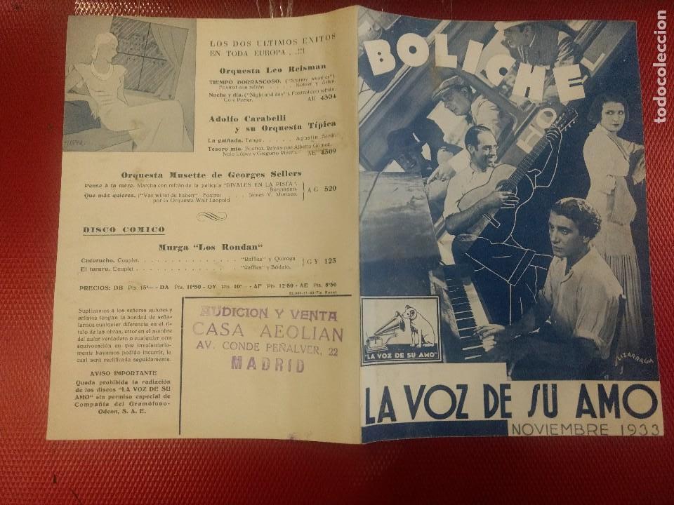 LA VOZ DE SU AMO, NOVIEMBRE 1933, BOLICHE, ILUSTRADO POR LIZARRAGA, (Música - Catálogos de Música, Libros y Cancioneros)