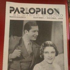 Catálogos de Música: HOJA CATALOGO DISCOS PARLOPHON NOVIEMBRE DICIEMBRE IMPERIO ARGENTINA Y CARLOS GARDEL. Lote 125719843