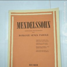 Catálogos de Música: MENDELSSOHN. COMPOSIZIONI PER PIANOFORTE. ROMANE SENZA PAROLE. RICORDI. TDK97. Lote 126019407