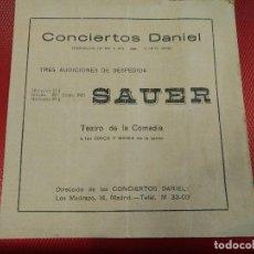 Catálogos de Música: CONCIERTOS DANIEL, SAUER TEATRO DE LA COMEDIA 1921 MEDIDAS: 16,50 X 16 CM. Lote 126047407