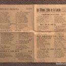 Catálogos de Música: LOS ÚLTIMOS ÉXITOS DE LA CANCIÓN. HOJA SUELTA, (1) CON BOLEROS, TANGOS Y PASADOBLES... (H.1930?). Lote 126731659