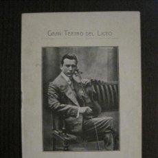 Catálogos de Música: GRAN TEATRO DEL LICEO - BARCELONA- FRANZ VON VECSEY- 11 MAYO 1910 -PROGRAMA -VER FOTOS-(V-14.937). Lote 127159411