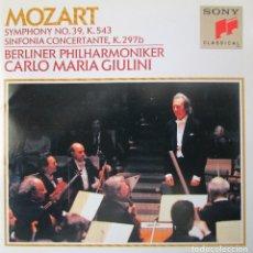 Catálogos de Música: MOZART - SYMPHONY Nº 39 - SINFONIA CONCERTANTE PARA OBOE, TROMPA, FAGOT Y ORQUESTA - CD IMPECABLE. Lote 129393767