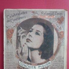 Catálogos de Música: CELEBRIDADES DEL CANCIONERO. COLECCIÓN CONCHITA PIQUER Nº 1. CONTIENE 8 FOTOGRAFÍAS. COMPLETO.. Lote 130125059