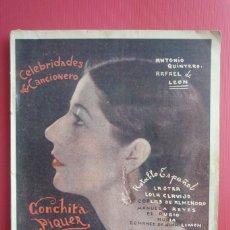 Catálogos de Música: CELEBRIDADES DEL CANCIONERO. CONCHITA PIQUER-ROBERTO FONT-VALDERRAMA. CON 8 FOTOGRAFÍAS. COMPLETO.. Lote 160996977