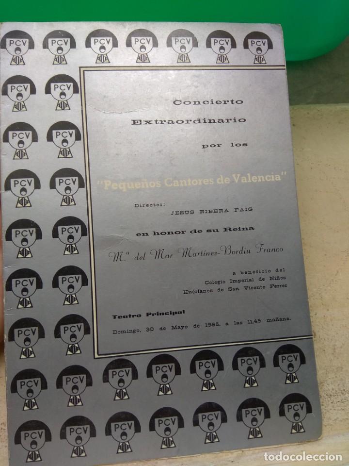 PROGRAMA CONCIERTO PEQUEÑOS CANTORES DE VALENCIA EN HONOR DE MARÍA DEL MAR MARTÍNEZ BORDIU FRANCO (Música - Catálogos de Música, Libros y Cancioneros)