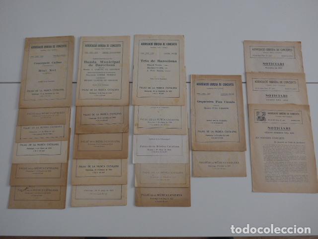 GRAN LOTE DE 21 CATALOGO ASSOCIACIO OBRERA DE CONCERTS DE PALACIO DE LA MUSICA CATALANA, ORIGINALES. (Música - Catálogos de Música, Libros y Cancioneros)