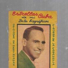 Catálogos de Música: ESTRELLAS CUBA. WILFREDO MENDI. DATOS BIOGRAFICOS Y CANCIONES. VER FOTOS. Lote 133513114