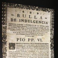Catálogos de Música: BULA INDULGENCIA PLENARIA TORRECILLA DE LOS CAMEROS. LA RIOJA. AÑO 1777. IMPRESA EN PERGAMINO. Lote 152286704