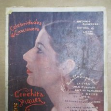 Catálogos de Música: CELEBRIDADES DEL CANCIONERO. CONCHITA PIQUER. EDITORIAL ALAS. 70 PAGINAS. RUSTICA. VER FOTOS. Lote 134276246