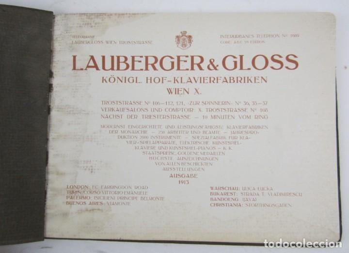 Catálogos de Música: Catálogo alemán de pianos, 1913, Lauberger & Gloss, Wien, London. 26x20cm - Foto 2 - 135001938