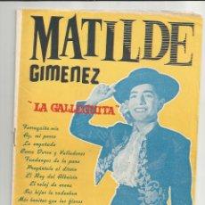 Catálogos de Música: CANCIONERO MATILDE GIMÉNEZ - EDITORIAL ALAS. Lote 135328282