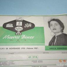Catálogos de Música: ANTIGUO CATÁLOGO DESPLEGABLE ANTICIPO DE NOVEDADES FEBRERO DE 1957 CAPITOL PATHE ODEON AEGAL MGM. Lote 136558850