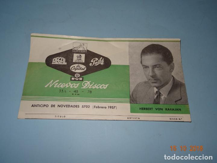 Catálogos de Música: Antiguo Catálogo Desplegable Anticipo de Novedades Febrero de 1957 CAPITOL PATHE ODEON AEGAL MGM - Foto 2 - 136558850