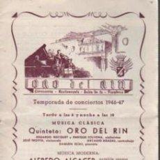 Catálogos de Música: CATÁLOGO RESTAURANTE QUINTETO ORO DEL RIO - ALFREDO ALCACER CONJUNTO MUSICAL VILARÓ 1946 - 47. Lote 136621262