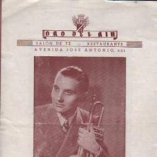 Catálogos de Música: CATÁLOGO DIPTICO RESTAURANTE ORO DEL RIO - JAIME VENTURA - RUDY - BARCELONA 1950. Lote 136622150