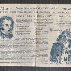 Catálogos de Música: PROGRAMA RESTAURANTE ORO DEL RIO - HOMENAJE A SCHUBERT - MÚSICA CLASICA 1928. Lote 136624698