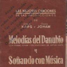 Catálogos de Música: CATÁLOGO LAS MEJORES CANCIONES ARTUR KAPS Y FRANZ JOHAN - MELODIAS DEL DANUBIO SALÓN CAFÉ TOSTADERO. Lote 136626030