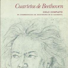 Catálogos de Música: PROGRAMA CUARTETOS DE BEETHOVEN. CUARTETO PARRENIN. TEATRO REAL.MADRID. 1970. PARRENIN Y CHARPENTIER. Lote 139737146